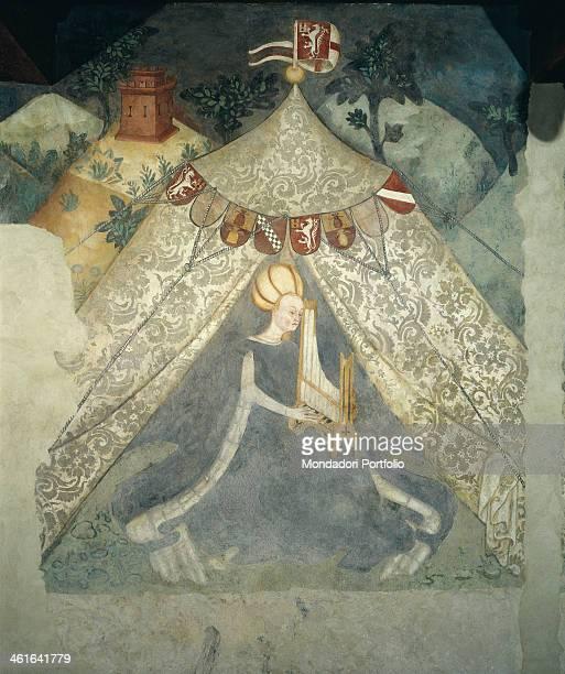 Courtesan musician 1443 1453 15th Century frsco Italy Lombardy Masnago Castello Castiglioni Mantegazzo Detail In a tend a dama playing a portable...