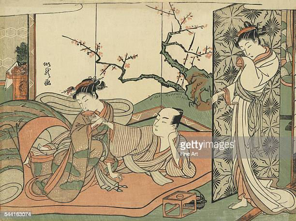 Courtesan Watching a Young Apprentice in Bed by Kitao Shigemasa and Isoda Koryusai