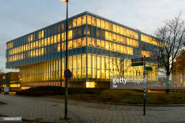 Courthouse in Zwolle of the Rechtbank Overijssel during sunset.
