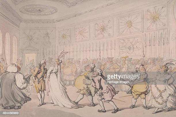 Courtiers passing through the Guard Chamber on their way to the Drawing Room St James's Palace London c1808