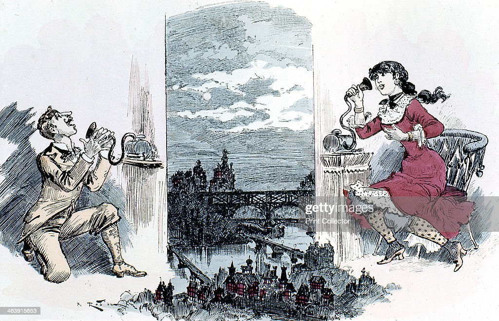 Courting by telephone across Paris, 1883. : News Photo