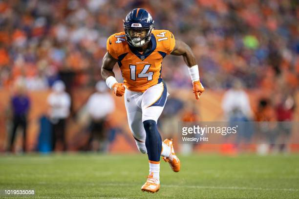 Courtland Sutton of the Denver Broncos at the line of scrimmage during a game against the Minnesota Vikings during week one of preseason at Broncos...