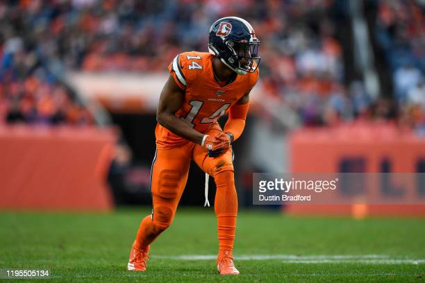 Courtland Sutton of the Denver Broncos lines up on offense against the Detroit Lions at Empower Field on December 22, 2019 in Denver, Colorado.