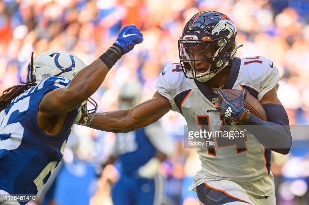 Courtland Sutton of the Denver Broncos makes a first down catch during second quarter of the game against the Indianapolis Colts at Lucas Oil Stadium...