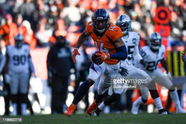 Courtland Sutton of the Denver Broncos runs after a catch in the second quarter of a game at Empower Field at Mile High on December 29, 2019 in...