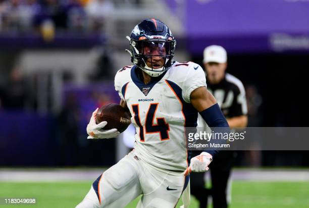 Courtland Sutton of the Denver Broncos runs with the ball the ball in the first quarter of the game against the Minnesota Vikings at U.S. Bank...