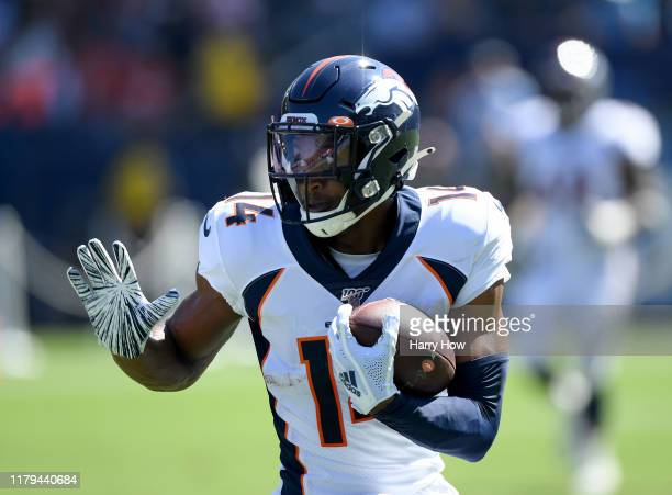 Courtland Sutton of the Denver Broncos turns up field after his catch to score a touchdown, to take a 14-0 lead over the Los Angeles Chargers. During...