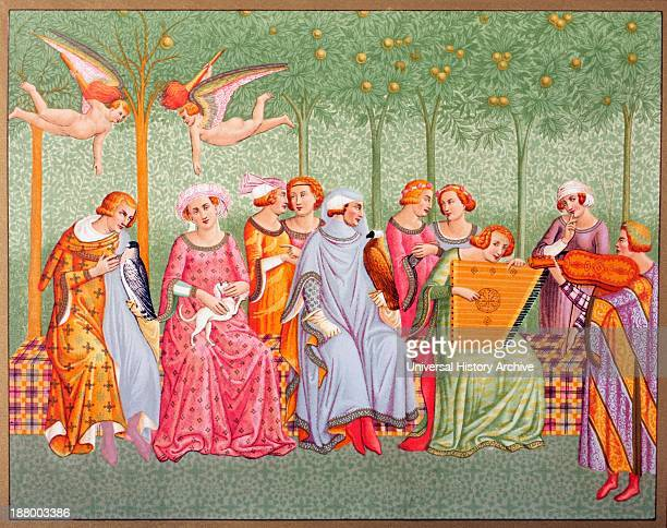 Courtly Women Listen To Music In An Orchard After Section Of A Fresco Called Triumph Of Death In The Camposanto Monumentale By Buonamico Di...