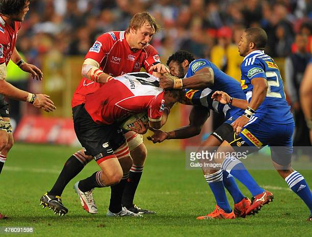 Courtnall Skosan of the Lions and Siya Kolisi of the Stormers in the tackle during the Super Rugby match between DHL Stormers and Emirates Lions at...