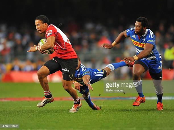 Courtnall Skosan of the Lions during the Super Rugby match between DHL Stormers and Emirates Lions at DHL Newlands Stadium on June 06 2015 in Cape...