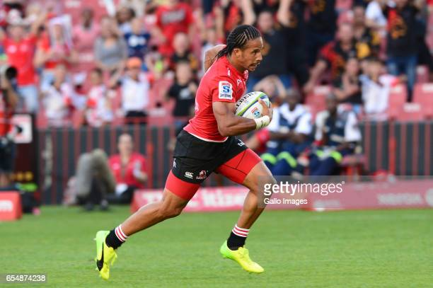 Courtnall Skosan of the Lions during the Super Rugby match between Emirates Lions and Reds at Emirates Airlines Park on March 18 2017 in Johannesburg...