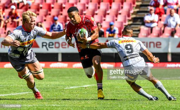 Courtnall Skosan of the Lions with possession during the Super Rugby match between Emirates Lions and DHL Stormers at Emirates Airline Park on...