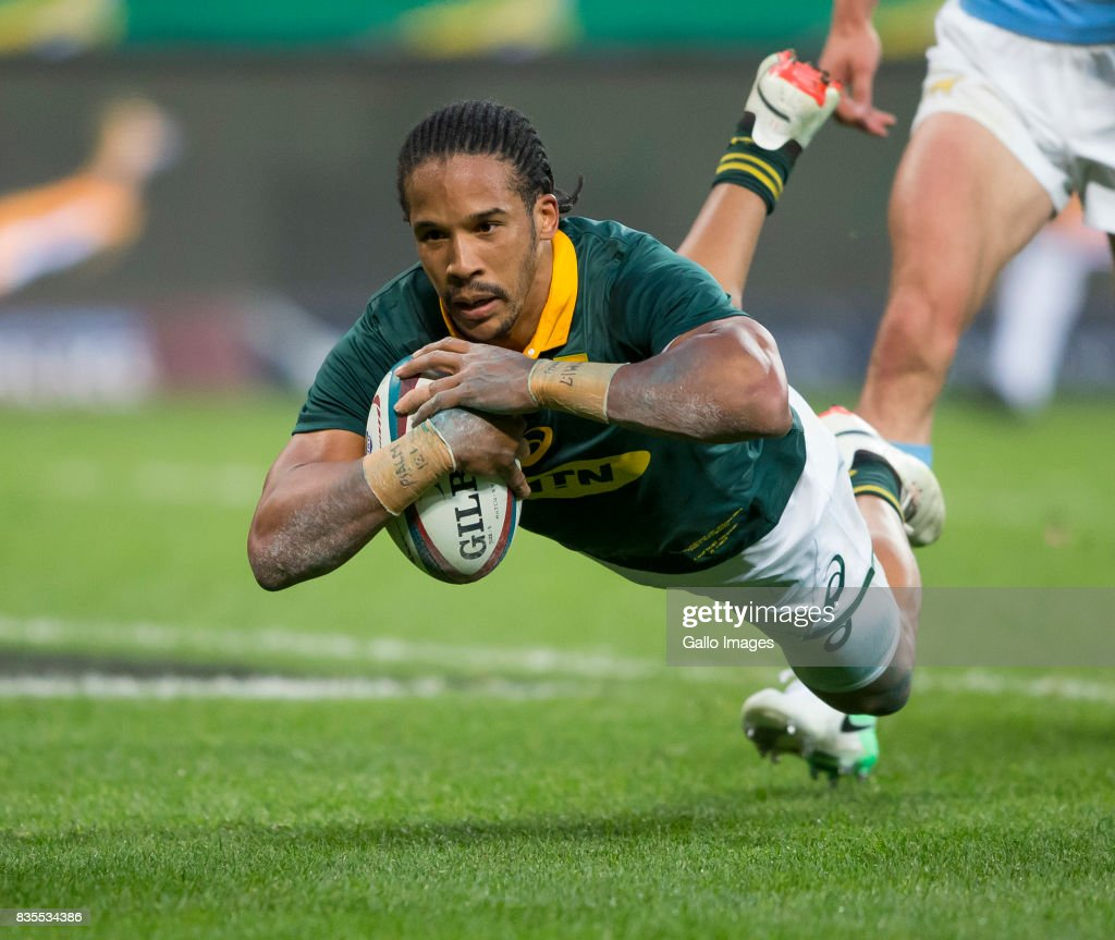 Courtnall Skosan of the Springbok Team during the Rugby Championship match between South Africa and Argentina at Nelson Mandela Bay Stadium on August 19, 2017 in Port Elizabeth, South Africa.