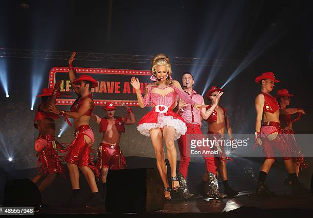 Courtney Act and Jake Shears perform during Mardi Gras Party at the Entertainment Quarter on March 7 2015 in Sydney Australia