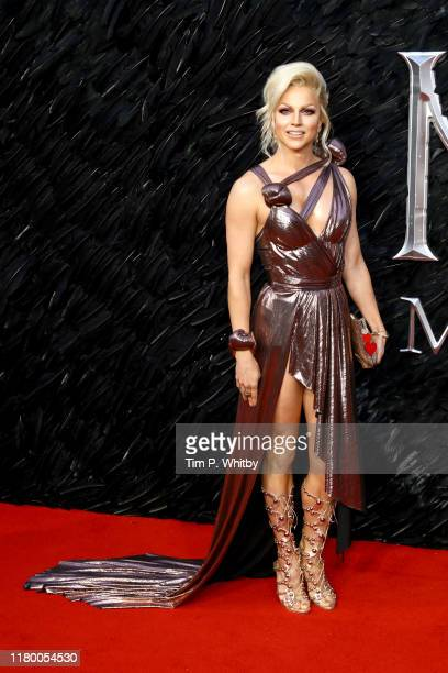 Courtney Act attends the European premiere of Maleficent Mistress of Evil at Odeon IMAX Waterloo on October 09 2019 in London England