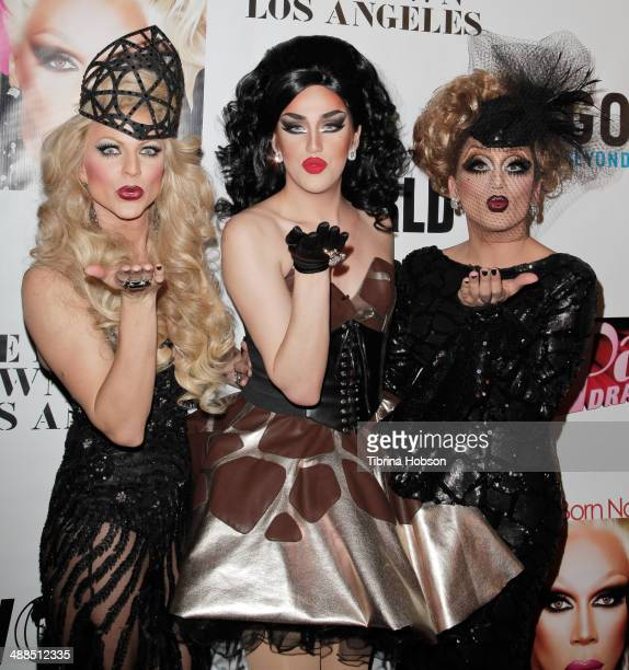 Courtney Act Bianca Del Rio and Adore Delano attend the Logo TV's 'RuPaul's Drag Race' reunion taping at The Theatre at Ace Hotel Downtown LA on May...