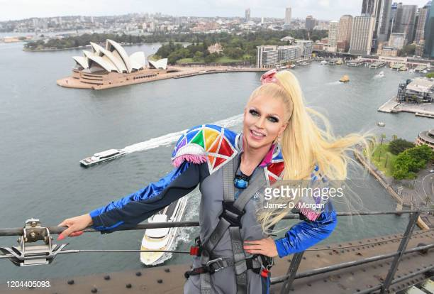 Courtney Act en route to the summit of Bridgeclimb at the Sydney Harbour Bridge on February 06 2020 in Sydney Australia The awardwinning drag queen...