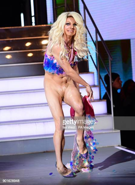 Courtney Act enters the house during the Celebrity Big Brother Men's Launch held at Elstree Studios in Borehamwood Hertfordshire