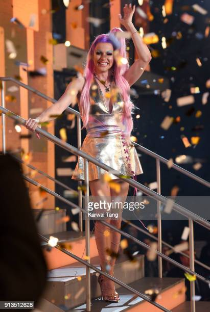 Courtney Act is crowned the winner during the 2018 Celebrity Big Brother Final at Elstree Studios on February 2 2018 in Borehamwood England