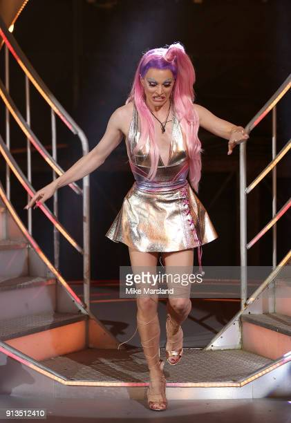 Courtney Act is crowned winner during the 2018 Celebrity Big Brother Final at Elstree Studios on February 2 2018 in Borehamwood England