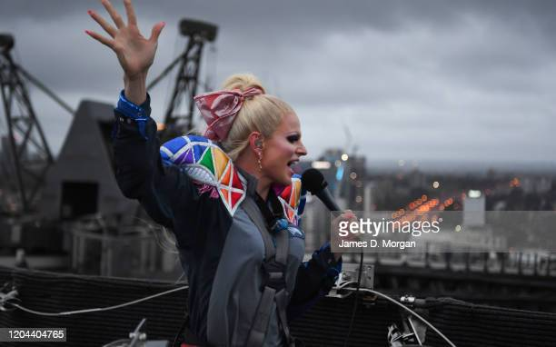 Courtney Act performs on top of Bridgeclimb at the Sydney Harbour Bridge on February 06 2020 in Sydney Australia The awardwinning drag queen kicked...