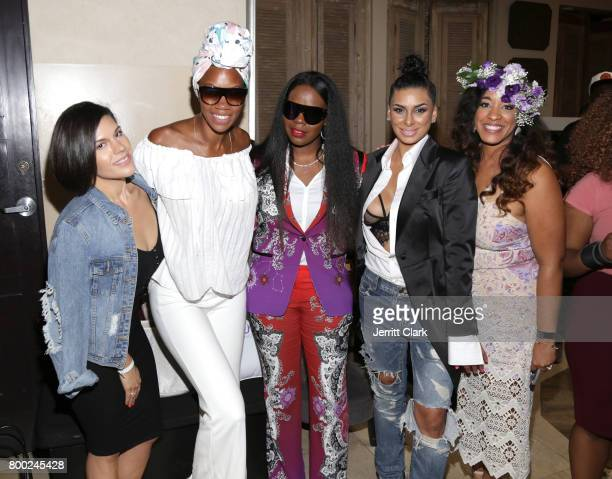 Courtney Adeleye Laura Govan and Charlene Dance attend Sevyn Streeter and Courtney Adeleye of The Mane Choice Boss Up Brunch at Sur Restaurant on...