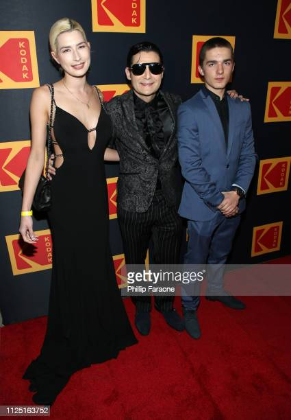 Courtney Anne Mitchell Corey Feldman and Zen Scott Feldman attend the 3rd annual Kodak Awards at Hudson Loft on February 15 2019 in Los Angeles...