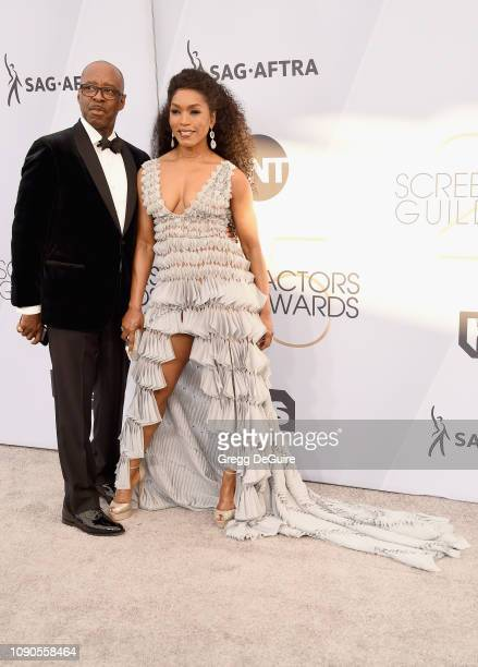 Courtney B Vance and Angela Bassett attend the 25th Annual Screen Actors Guild Awards at The Shrine Auditorium on January 27 2019 in Los Angeles...
