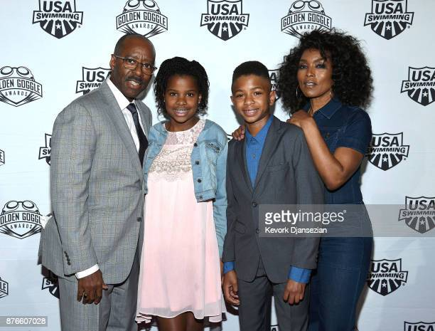 Courtney B Vance Bronwyn Vance Slater Vance and Angela Bassett attend the 2017 USA Swimming Golden Goggle Awards at JW Marriott at LA Live on...