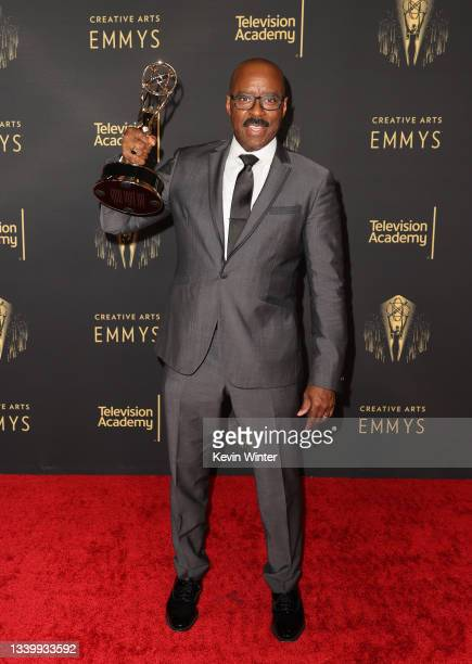 """Courtney B. Vance poses with the award for Outstanding Guest Actor in a Drama Series for """"Lovecraft Country"""" at the Creative Arts Emmys at Microsoft..."""