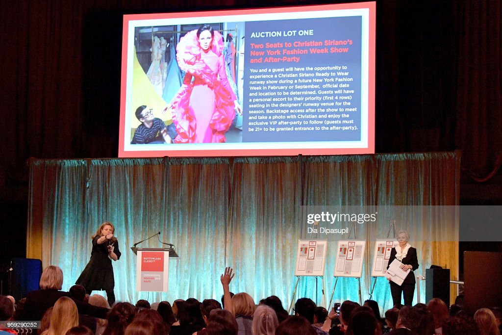 Courtney Booth-Christensen speaks on stage at the Bottomless Closet's 19th Annual Spring Luncheon on May 16, 2018 in New York City.