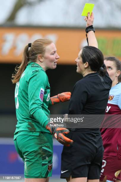 Courtney Brosnan of West Ham United Women getting a yellow card during the Barclays FA Women's Super League match between Chelsea and West Ham United...