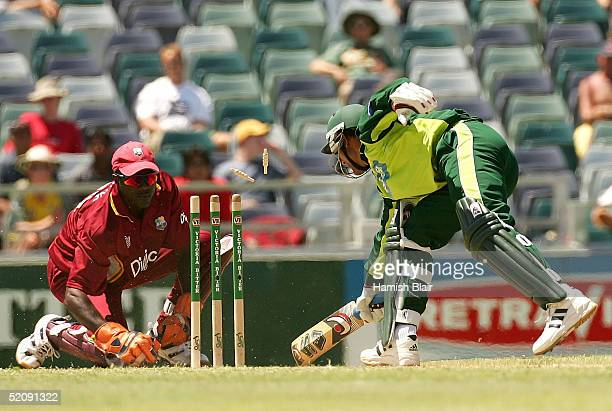 Courtney Browne of the West Indies stumps Abdul Razzaq of Pakistan during game nine of the VB Series One Day International Tournament between...