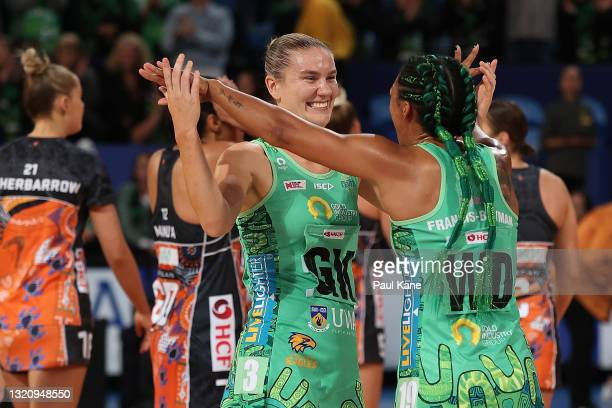 Courtney Bruce and Stacey Francis of the Fever celebrate winning the round five Super Netball match between the West Coast Fever and the Greater...