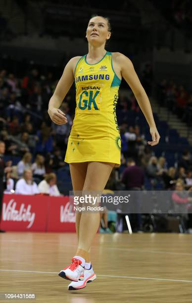 Courtney Bruce of Australia in action during the Vitality Netball International Series match between South Africa and Australian Diamonds as part of...