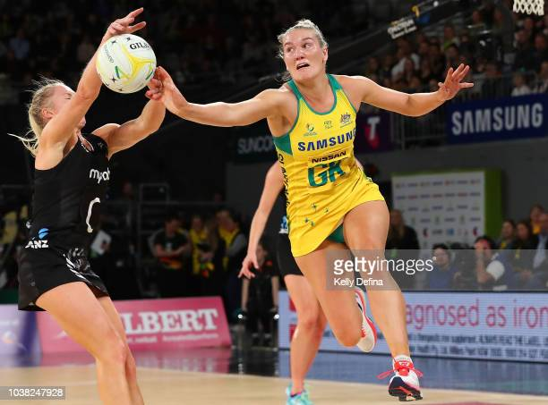 Courtney Bruce of the Diamonds defends against Laura Langman of the Silver Ferns during the Quad Series International Test match between the...