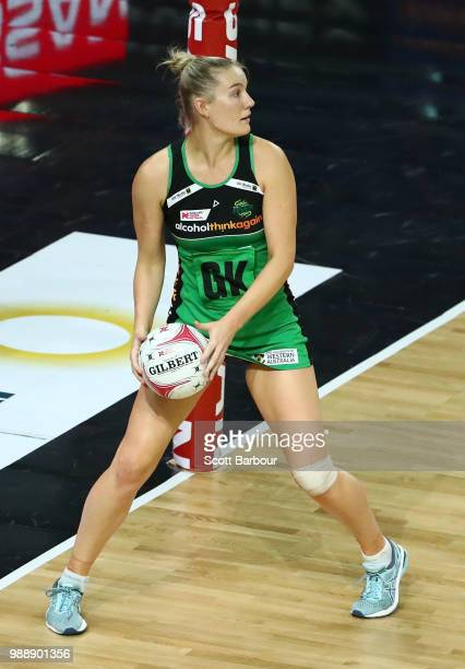 Courtney Bruce of the Fever competes for the ball during the round nine Super Netball match between the Magpies and the Fever at Margaret Court Arena...