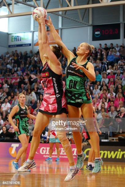 Courtney Bruce of the Fever defends against Karyn Bailey of the Thunderbirds during the round one Super Netball match between the Thunderbirds and...