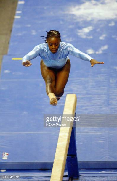 Courtney Bumpers of the University of North Carolina competes in the beam during the Division 1 Women's Individual Gymnastics Championship held at...
