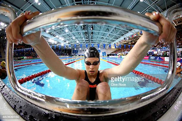 Courtney Butcher of Guernsey prepares to compete in the Women's 50m Backstroke Heat 2 at Tollcross International Swimming Centre during day five of...