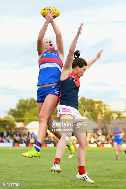 Courtney Clarkson of the Bulldogs marks during the Women's round three match between the Western Bulldogs and the Melbourne Demons at Whitten Oval on...