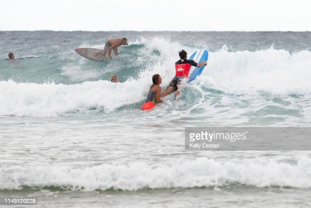 Courtney Conlogue of the USA competing in the 2014 Roxy Pro Gold Coast at Snapper Rocks QLD Australia During a layday Conlogue gave TV Presenter...