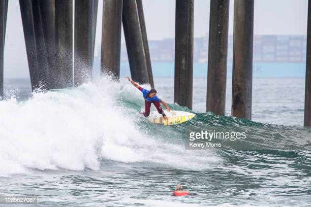 Courtney Conlogue of USA surfing in Heat 2 of the Semifinals at the US Open of Surfing Huntington Beach presented by Shiseido on September 26, 2021...
