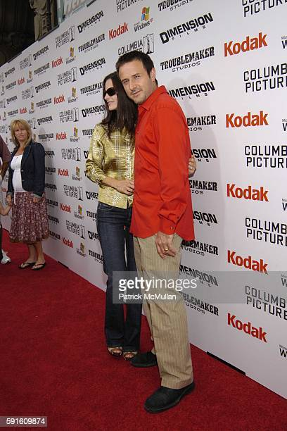 Courtney Cox and David Arquette attend The Adventures of Shark Boy and Lava Girl 3D Los Angeles Premiere at El Capitian Theater on June 4 2005 in...