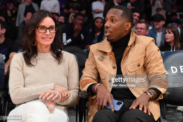 Courtney Cox and Rich Paul attend a basketball game between the Los Angeles Lakers and the Cleveland Cavaliers at Staples Center on January 13 2020...