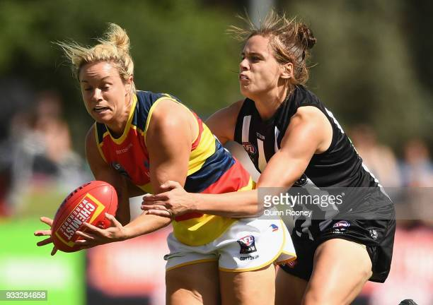 Courtney Cramey of the Crows marks during the round seven AFLW match between the Collingwood Magpies and the Adelaide Crows at Olympic Park on March...