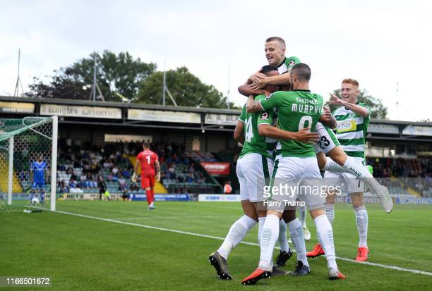 Courtney Duffus of Yeovil Town celebrates after scoring his sides first goal during the Vanarama National League match between Yeovil Town and...