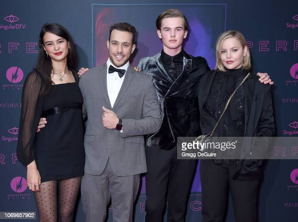 Courtney Eaton Lucas Lockwood Garrett Wareing and Abbie Cornish arrive at the Screening Of 'Perfect' at The WGA Theater on December 7 2018 in Beverly...