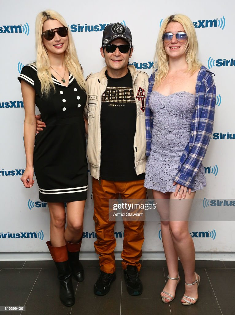 Courtney Feldman, actor/musician Corey Feldman and Jackie von Rueden visit the SiriusXM Studios on July 17, 2017 in New York City.
