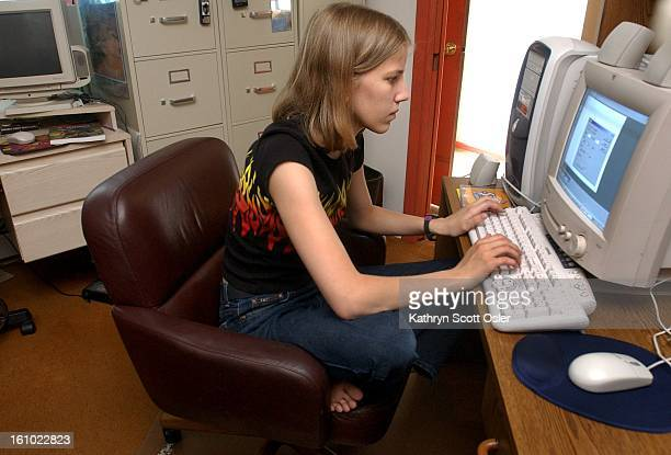 Courtney Felling searches eBay on her computer at home in Boulder Felling who is interested in web design will attend a summer computer camp in July...